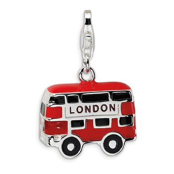 Sterling Silver Enamel Double Decker London Bus w/Lobster Clasp Charm