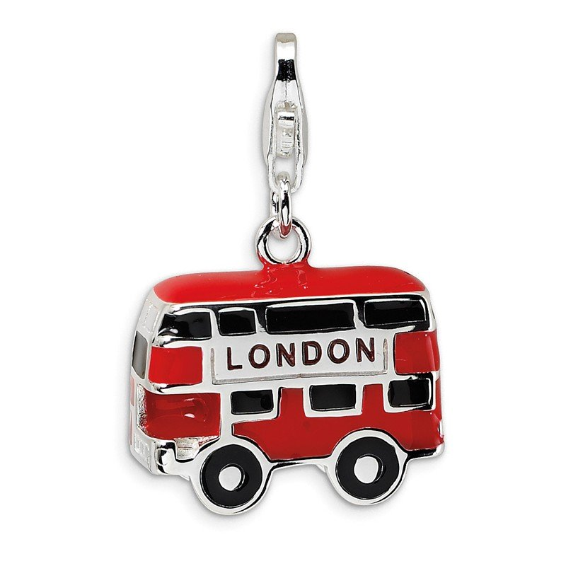 Quality Gold Sterling Silver Enamel Double Decker London Bus w/Lobster Clasp Charm