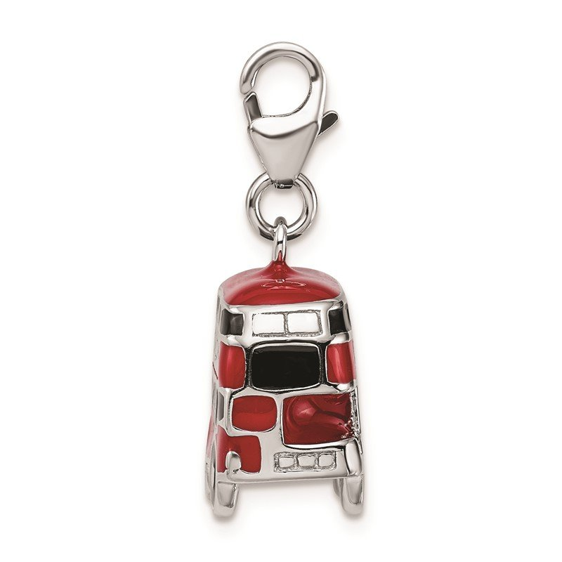 Quality Gold SS RH Enamel Double Decker London Bus w/Lobster Clasp Charm