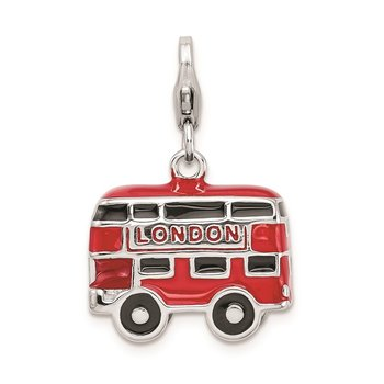 Sterling Silver Amore Rh-pl Enameled Double Decker London Bus Charm