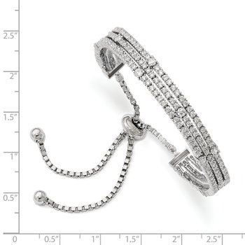 Sterling Silver Rhodium-plated CZ 5-9in Adjustable Bracelet