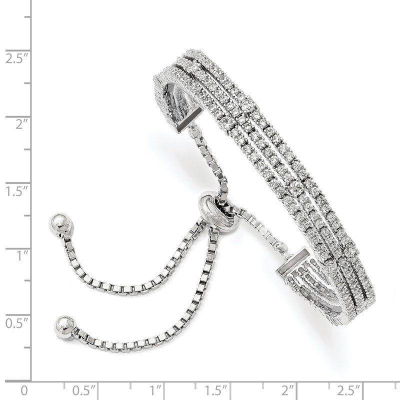 Quality Gold Sterling Silver Rhodium-plated CZ 5-9in Adjustable Bracelet