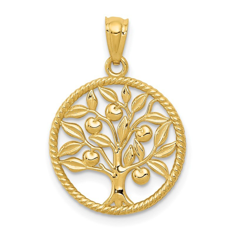 Quality Gold 14k Polished Tree Of Life in Round Pendant