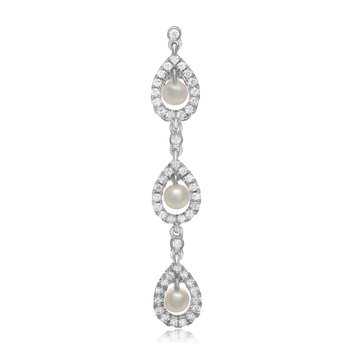 Triple Drop Pearl & Diamond Earrings