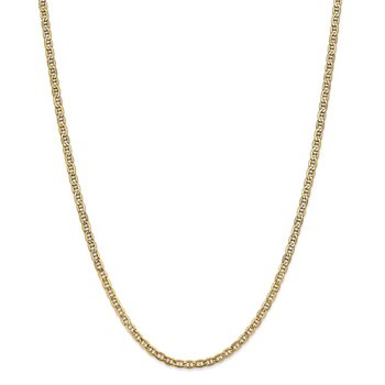 14k 3.2mm Semi-Solid Anchor Chain Anklet