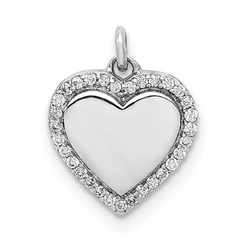 14k White Gold 1/10ct. Diamond Fancy Polished Heart Pendant
