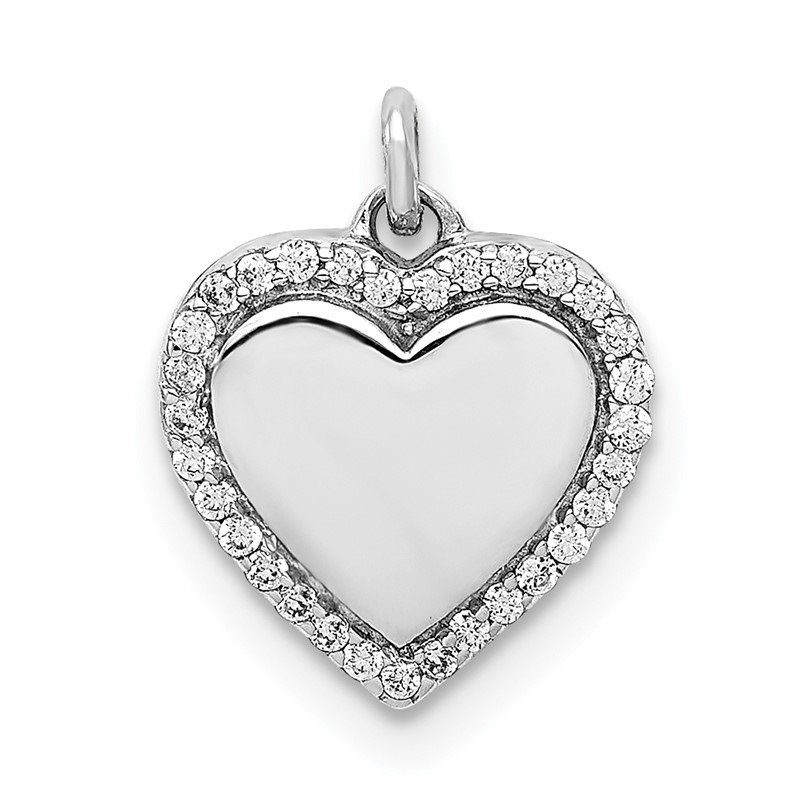 Quality Gold 14k White Gold 1/10ct. Diamond Fancy Polished Heart Pendant