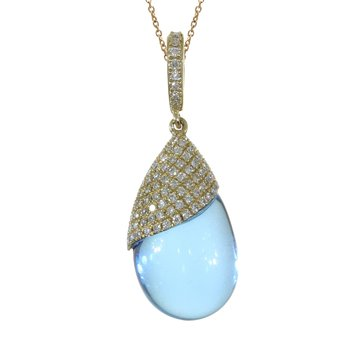 14K Yellow Gold Blue Topaz Pear-Shaped Cabochon and Diamond Pendant