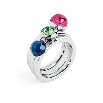 316L stainless steel, blue agathe, ruby zircon and erinite crystal Swarovski® Elements.