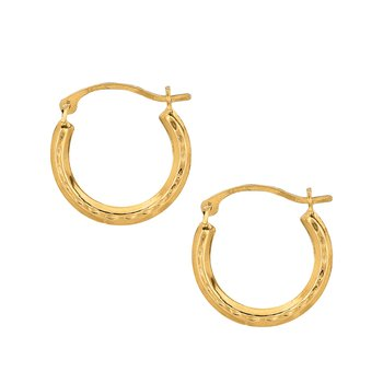 10K Gold Mini Diamond Cut Hoop Earring