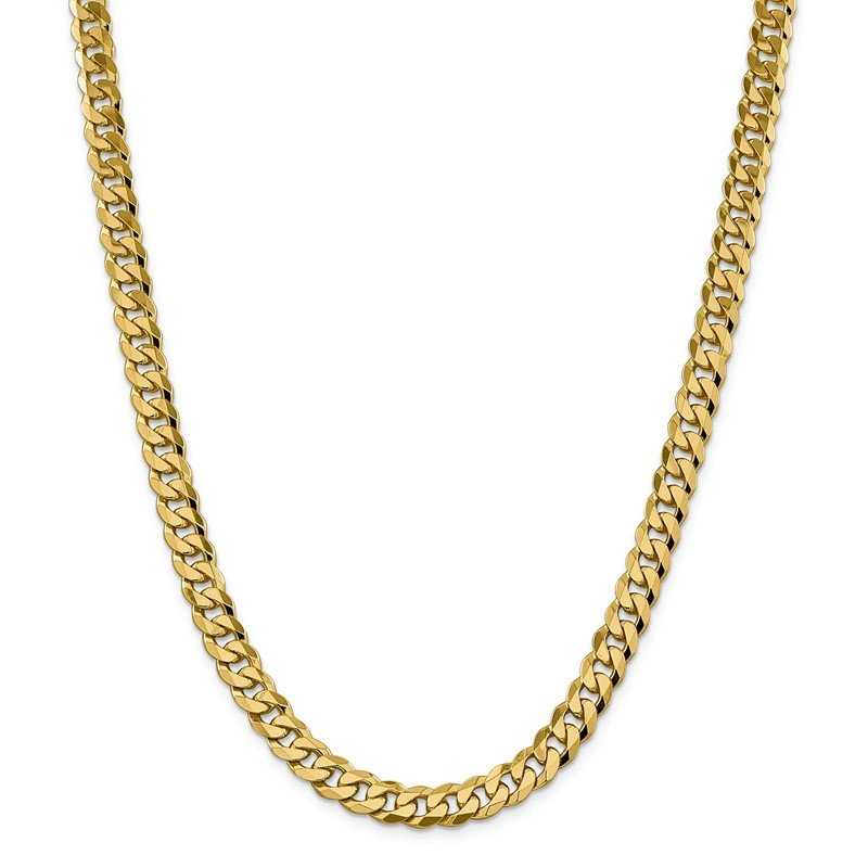 Quality Gold 14k 8.5mm Flat Beveled Curb Chain