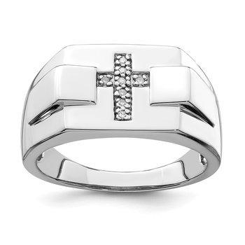 Sterling Silver Rhodium Diam. Cross Signet Ring