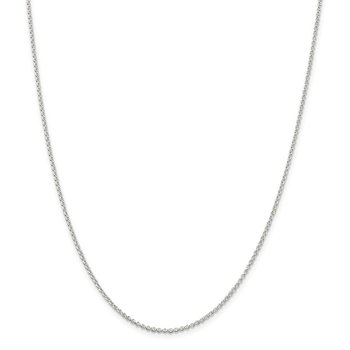 Sterling Silver Rhodium-plated 1.5mm Rolo Chain w/2in ext.