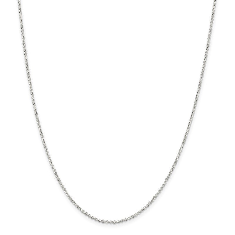 Quality Gold Sterling Silver Rhodium-plated 1.5mm Rolo Chain w/2in ext.
