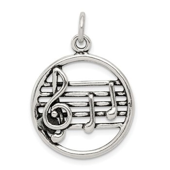 Sterling Silver Antiqued Music Staff Charm