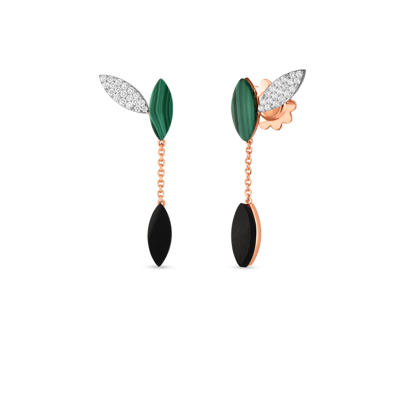 Roberto Coin 18KT GOLD PETAL EARRINGS WITH DIAMONDS, MALACHITE AND BLACK JADE