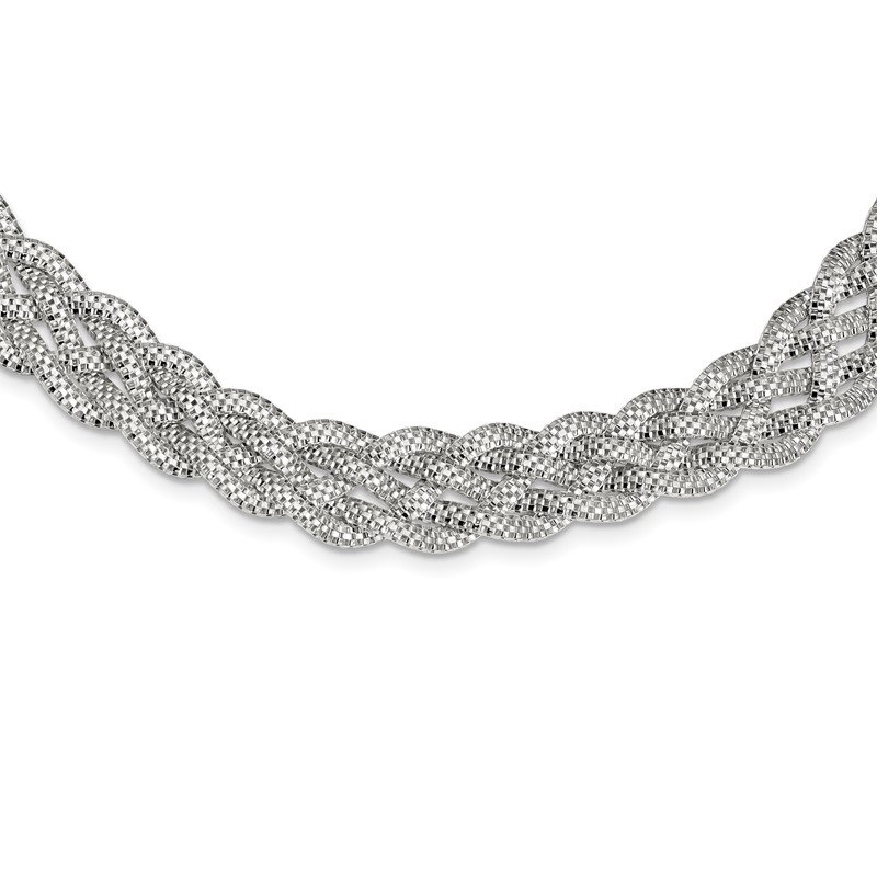 Quality Gold Sterling Silver Braided Mesh Necklace