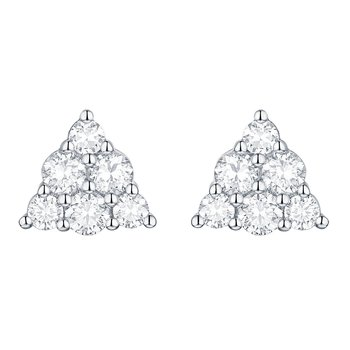 Smiling Rocks 0.76Ct G-H/VS1 Lab Grown Diamond Triangle Shape Cluster Earring