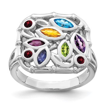 Sterling Silver Rhodium-plated Multi Gemstone Ring
