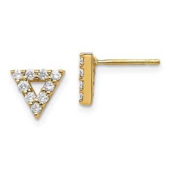 14k Diamond Triangle Open Earrings