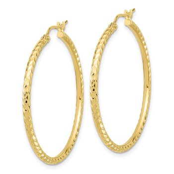 10k Diamond-cut 2mm Round Tube Hoop Earrings