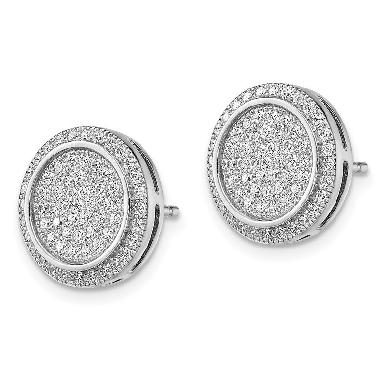 Quality Gold SS Rhodium-Plated CZ Brilliant Embers Circle Post Earrings