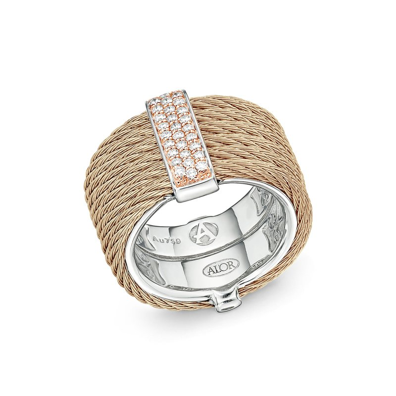 ALOR Carnation Cable Monochrome Ring with 18kt Rose Gold & Diamonds