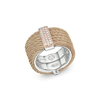Carnation Cable Monochrome Ring with 18kt Rose Gold & Diamonds
