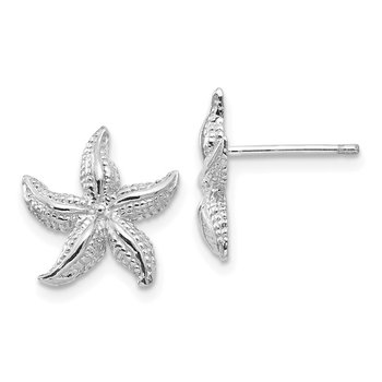14k White Gold Starfish Earrings