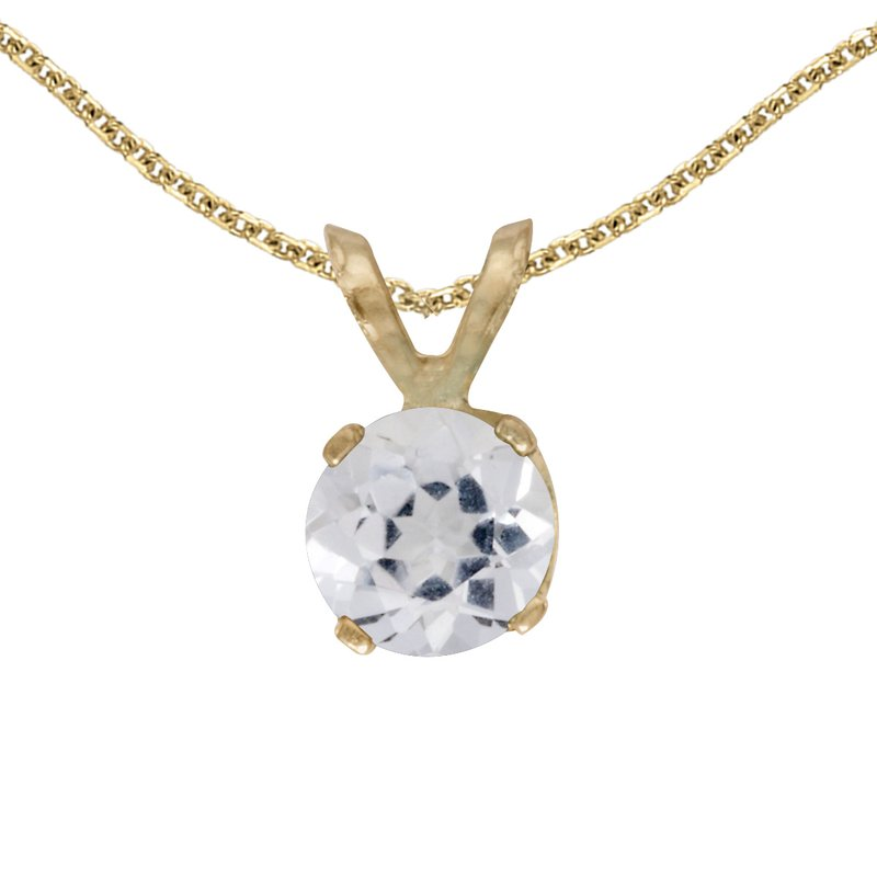 Color Merchants 14k Yellow Gold Round White Topaz Pendant