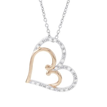 14k White and Rose Gold 1/10ct Diamond Heart Necklace