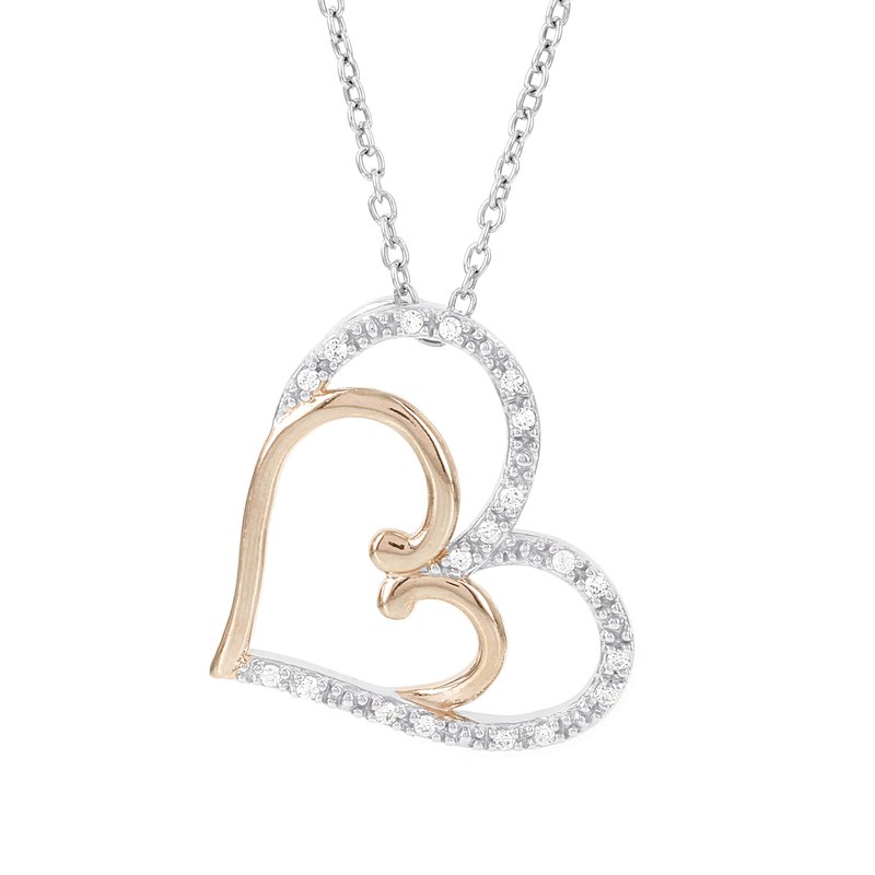 Moody's Signature 14k White and Rose Gold 1/10ct Diamond Heart Necklace