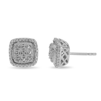 925 SS and Diamond Cushion  Shaped Stud Earring with Milgrained Edge
