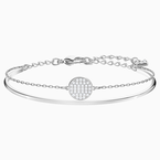 Swarovski Ginger Bangle, White, Rhodium plated