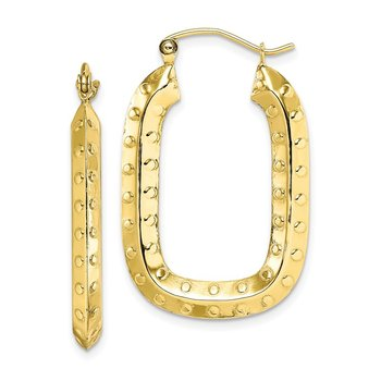 10k Polished Textured Rectangle Hoop Earrings
