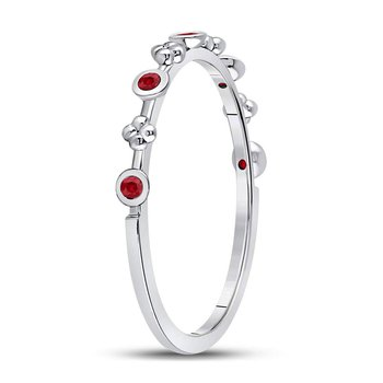 10kt White Gold Womens Round Ruby Dot Flower Stackable Band Ring 1/12 Cttw