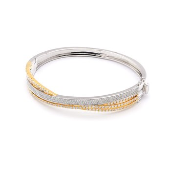 Diamond Two Tone Criss Cross Bangle