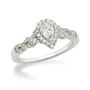 White gold & diamond pear engagement