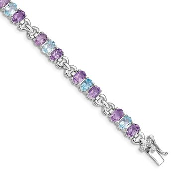 Sterling Silver Rhodium-plated Amethyst and Blue Topaz Bracelet