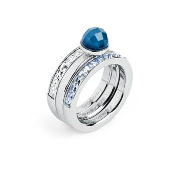 316L stainless steel, blue agathe, white and light sapphire Swarovski® Elements.