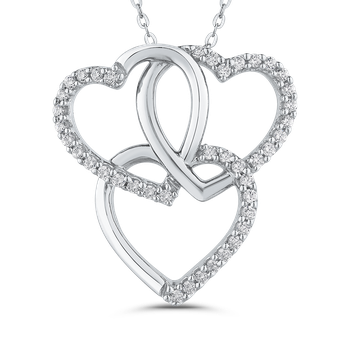 1/3 ct White Diamond Triple Heart Pendant with Chain