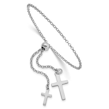 Sterling Silver Rhodium-plated Cross Adjustable 5in to 8.75in Bracelet