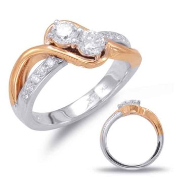White & Rose Gold Two Stone Ring