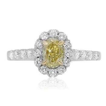 Two Tone Diamond Halo Ring