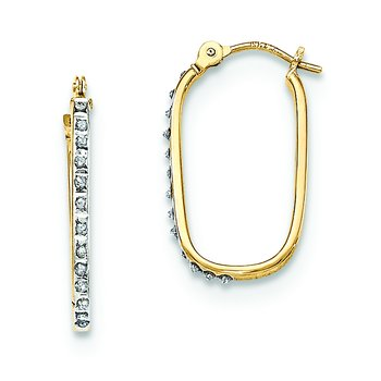 14k Diamond Fascination Hinged Hoop Earrings