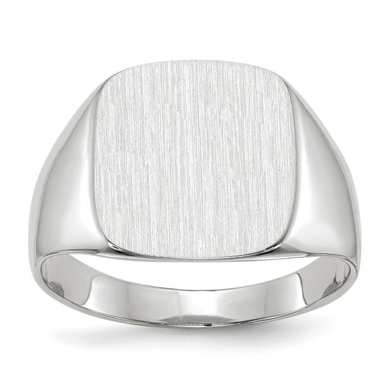 Quality Gold 14k White Gold 12.5x13.5mm Closed Back Men's Signet Ring