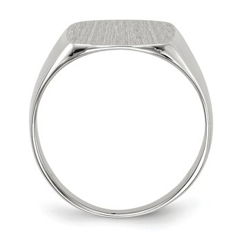 14k White Gold 12.5x13.5mm Closed Back Men's Signet Ring