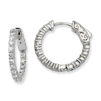 Sterling Silver CZ 32 Stones In and Out Round Hoop Earrings