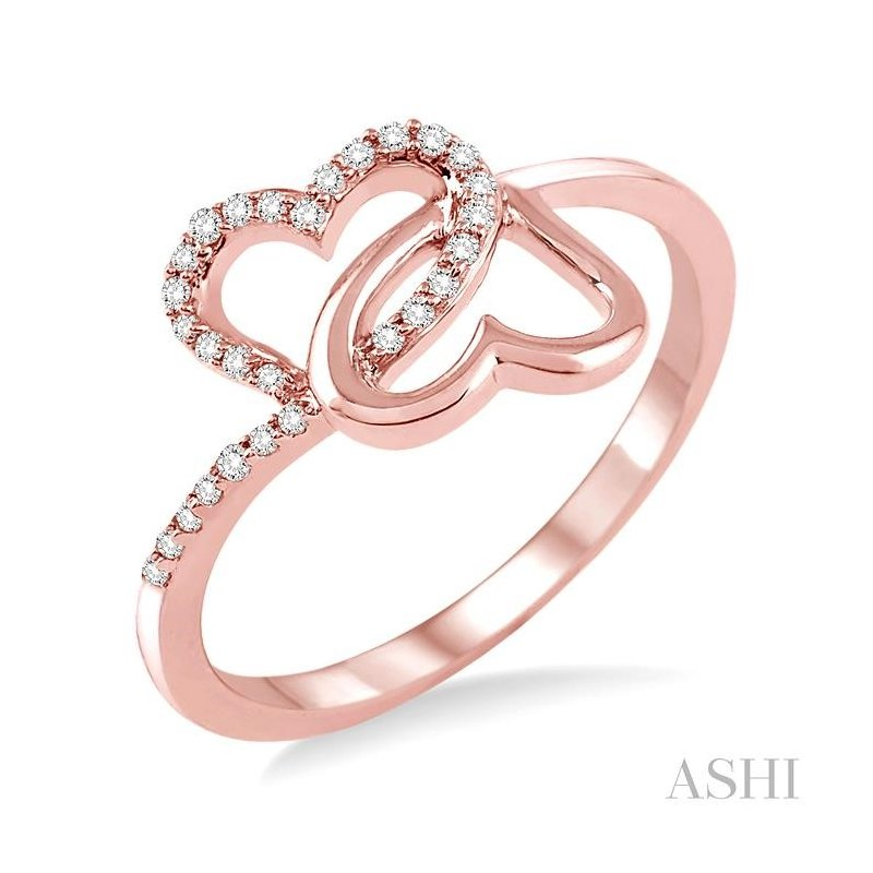 ASHI twin heart shape diamond ring