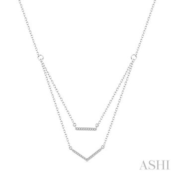 bar & v-shape diamond layered pendant